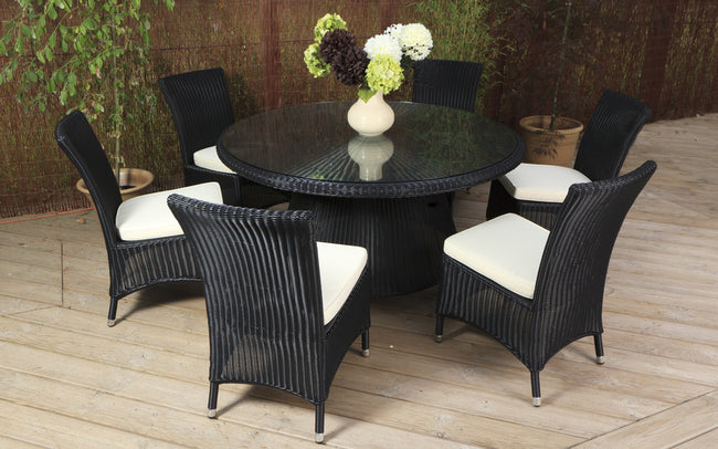Black Weave 6 Seater Table and Chair Set