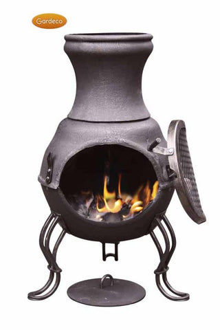 Gardeco - Colima Large Dark Blue Glaze Chiminea (discontinued)