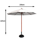 Cozy Bay 2.5m Round Wooden Pulley Parasol - Cre...