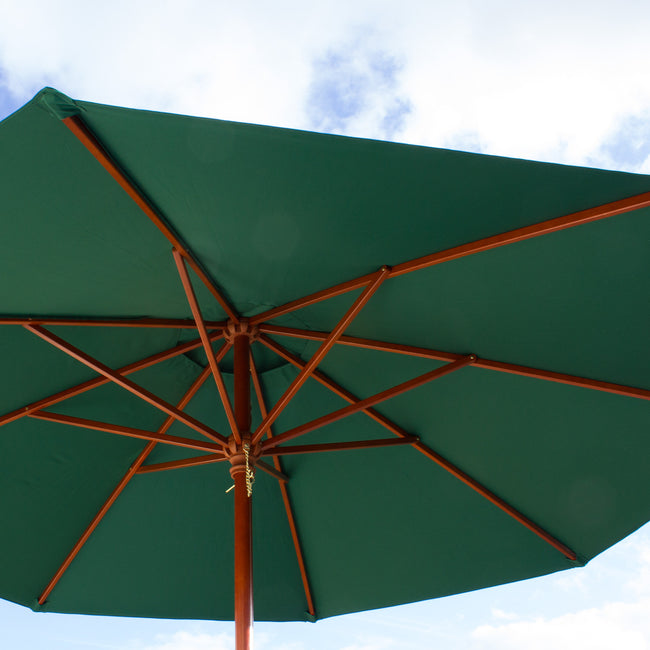 Cozy Bay 3m Round Wooden Pulley Parasol - Green