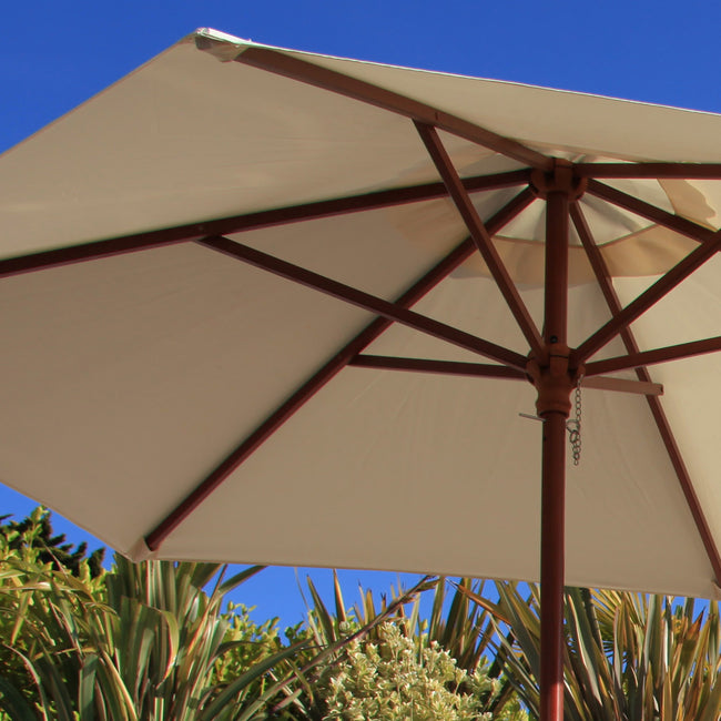 Cozy Bay 3.5m Round Wooden Pulley Parasol - Creamy White
