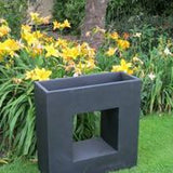 Fibre Clay Tall Square Planter with Square Cut Out