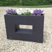 Trough Fibre Clay Planter with Rectangular Cut Out - Black