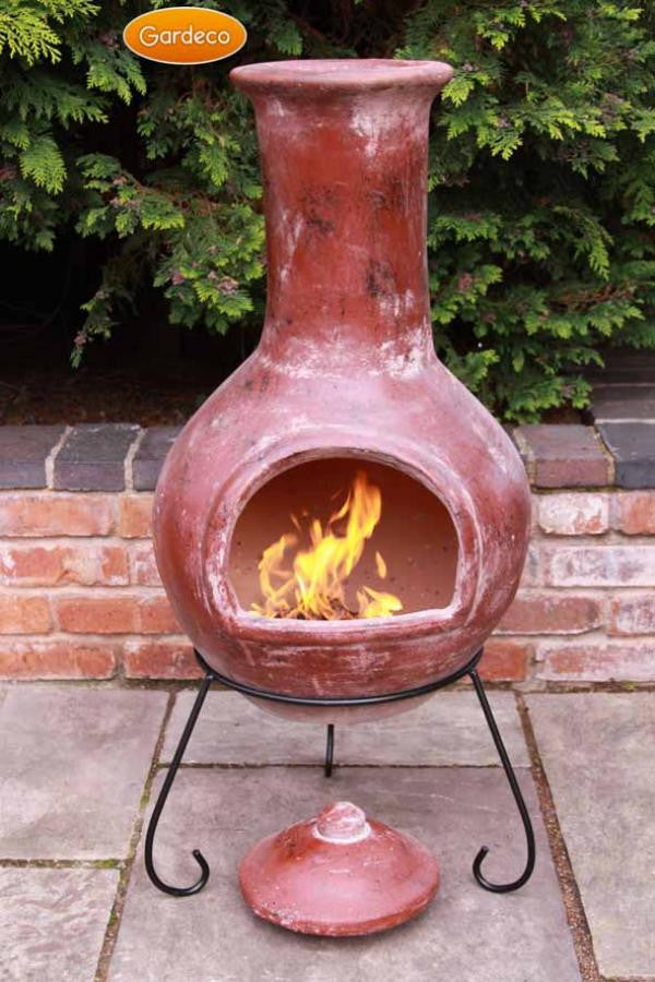 Gardeco - Extra-Large Colima Red Glaze Chiminea