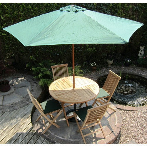 Rondeau Leisure 2.7m Deluxe Round Wooden Pulley Parasol - Green