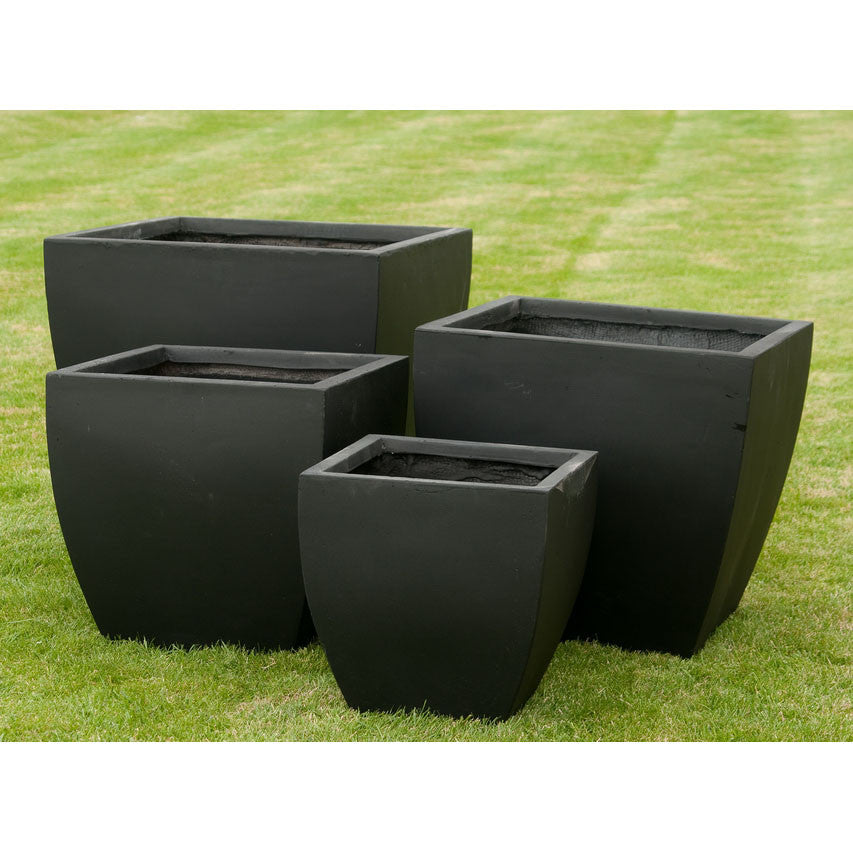 4 Fluted Square Smooth Slate Planters