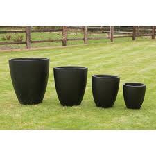 4 Vase Shaped Clay Fibre Planters in Smooth Slate Effect