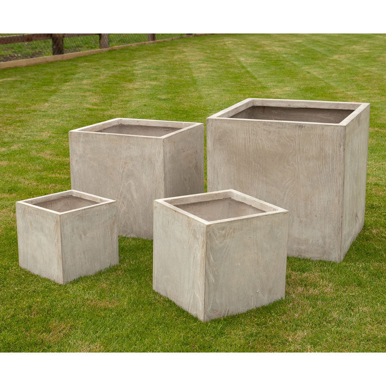 Wood Effect Square Planters - Set of Four