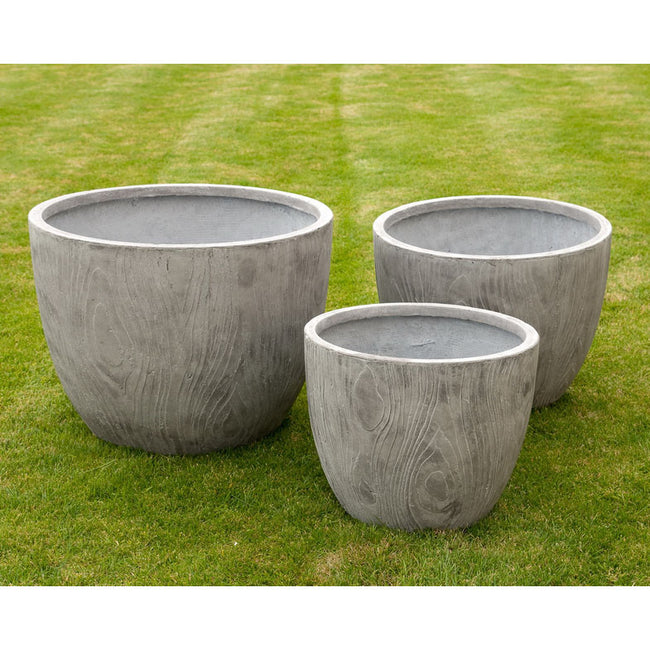 3 Wood Effect Clay Fibre Planters
