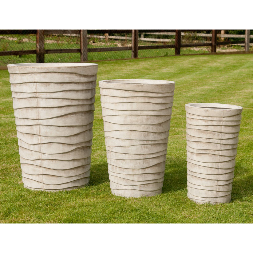 Round Planters – Three Sizes with Wave Design