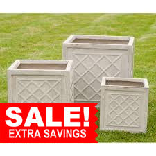 Dalby Square Fibre Clay Planters in Stone - Set of 3