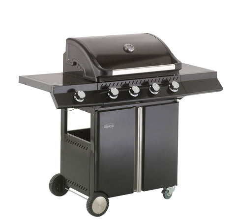 Lifestyle Ebony Deluxe 4 Burner Gas Barbecue with Side Burner