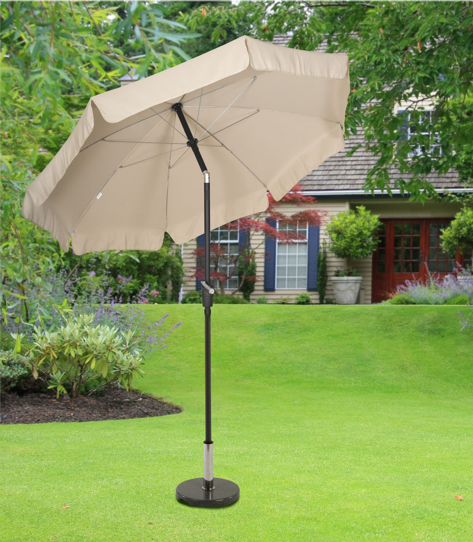 Norfolk  2.7m Round Aluminium Crank Parasol with Valence - Natural