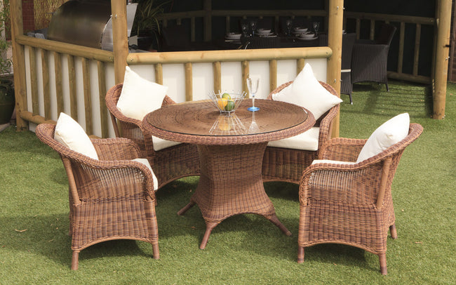 Sicilia Cozy Bay Honey Java 4 Seater Table & Chair Set