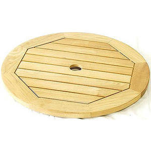 Royalcraft Teak Slatted Lazy Susan with Aluminium Ring