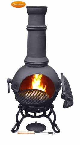 Gardeco - Toledo Large Black Cast Iron Chiminea