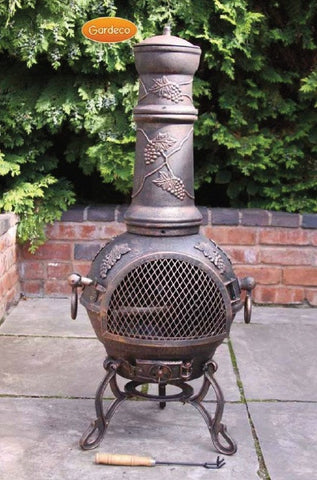Gardeco - Toledo Extra-Large Grape Cast Iron Chiminea