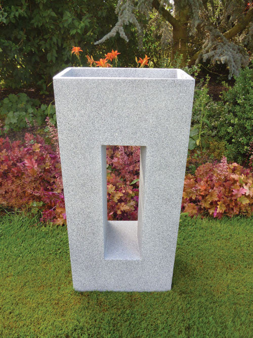 Tall Fibre Clay Planter with Rectangular Cut Out - Light Grey
