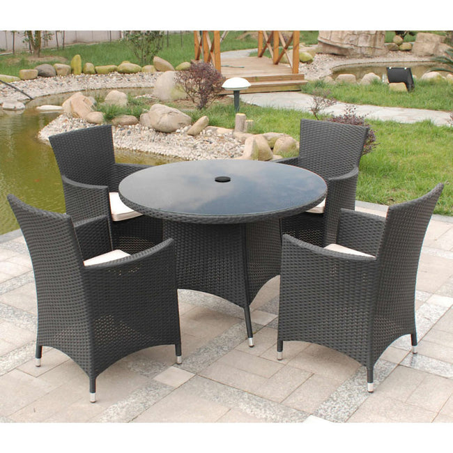Cannes Ebony Royalcraft Black 4-Seater Round Set