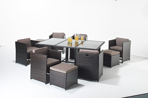 Cannes Mocha Royalcraft Brown 6-Seater Rectangular Set