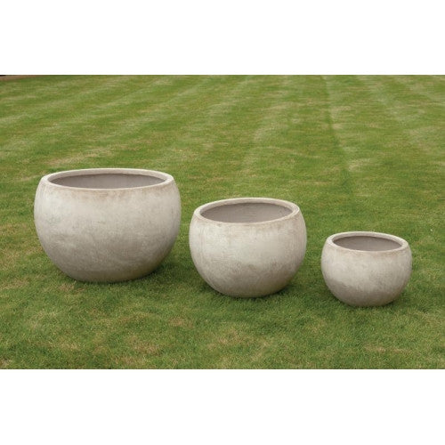 Distressed Round Pot Shaped Fibre Clay Planters - Set of 3