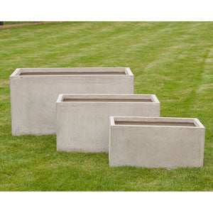 Set of Three Rectangle Wood Effect Planters
