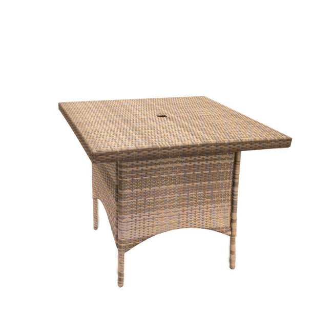 Bistro Cozy Bay Caffe Latte Square Rattan Table