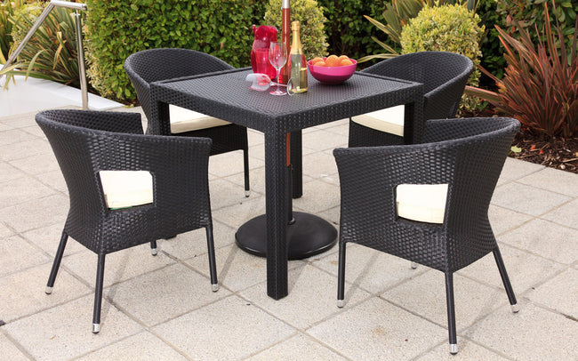 Bistro Cozy Bay Black 4 Seater 4 Line Table & Chair Set