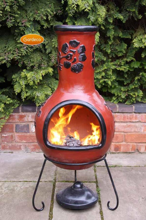 Gardeco - Rosas Extra-Large Cranberry & Black Glaze Chiminea