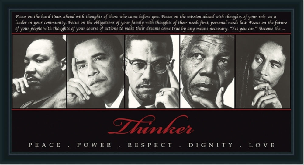 Thinkers Pose | MLK, Obama, Malcom X, Bob Marley, Mandela | Wall Art Print 18X36