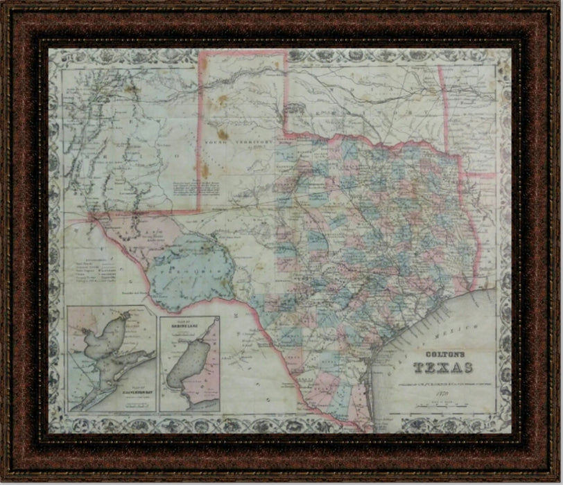 Framed 1870 Texas Map | High Quality Wall Art 10X12, 20X24, 25X30