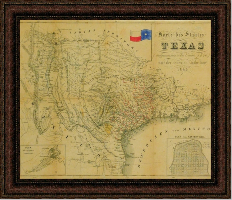 1849 State Map of Texas | Wall Art Print | 16X20, 24X30