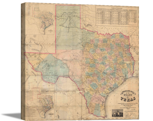 Gallery Wrap Canvas 1858 Map of Texas | High Quality Wall Art 22X24, 33X36