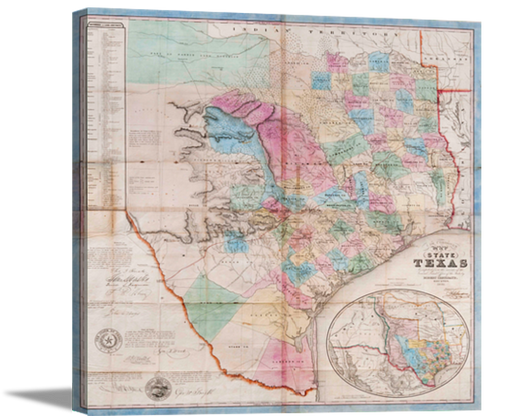 Gallery Wrap Canvas 1849 Texas Map | High Quality Wall Art 20X21, 25X26, 31X32