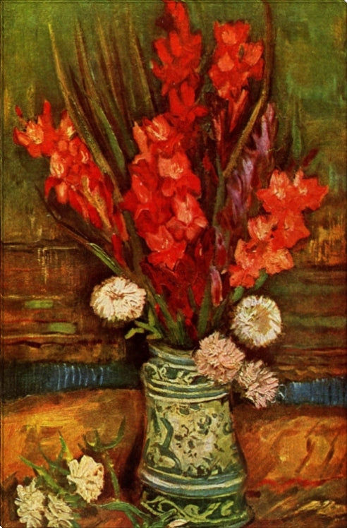 Vase With Red Gladiolas
