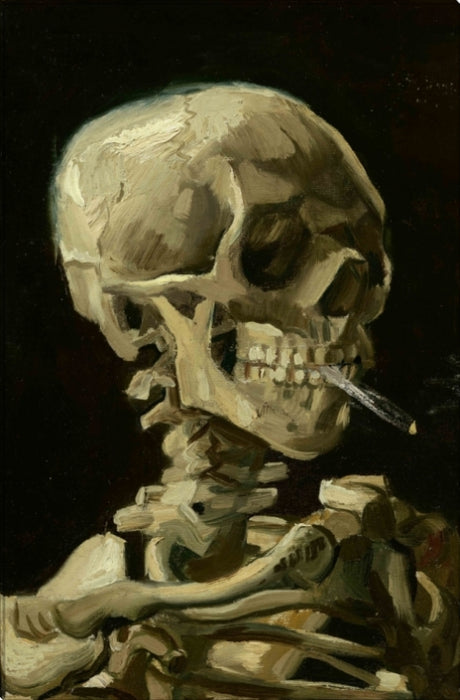 Skull of a Skeleton With Burning Cigarette | Vincent Van Gogh | Wall Art Print 18X27, 24X36, 30X45