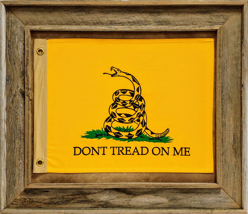 Don't Tread On Me Flag with Grommets - Barnwood