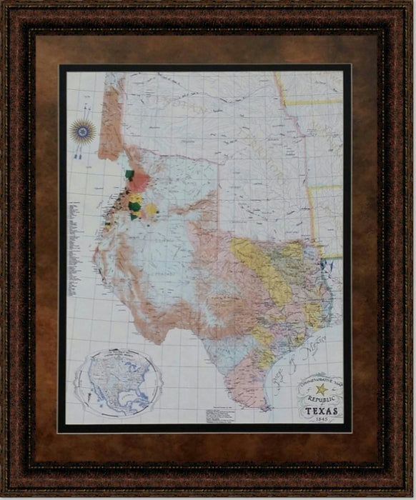 Framed Republic of Texas Map 1845 | High Quality Wall Art 26X32
