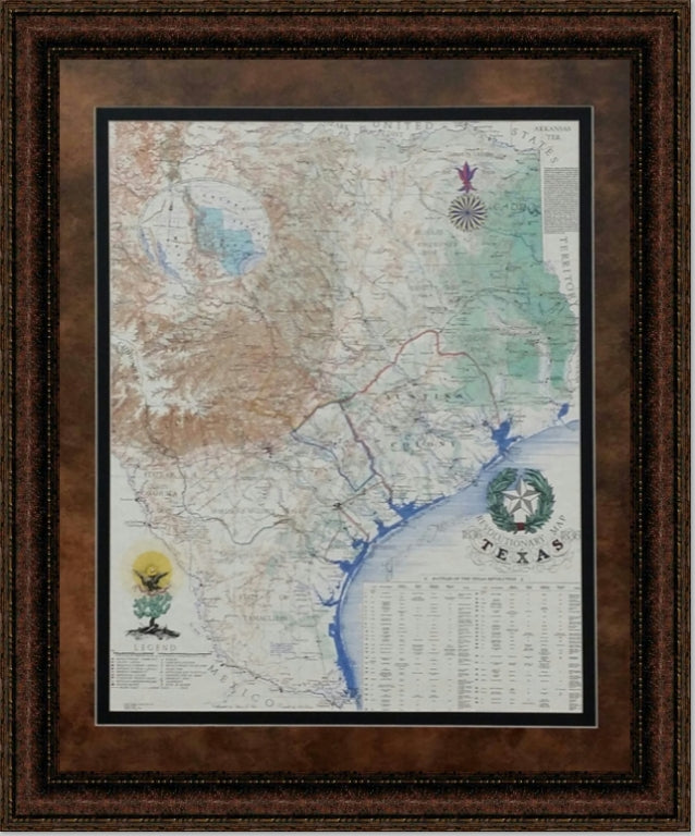 Framed Revolutionary Map of Texas 1836 | High Quality Wall Art 26X32