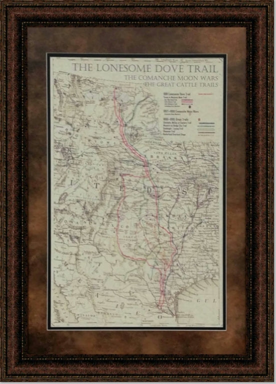 Lonesome Dove Trail Map | Wall Art Print | 18X24, 24X36