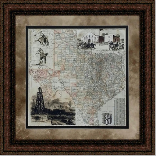 Antique Map of Texas | Wall Art Print | 24X24, 30X30