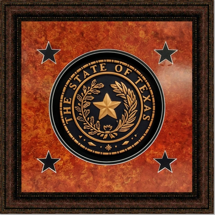 Shadow Box Texas Seal | High Quality Wall Art 16X16, 24X24, 30X30