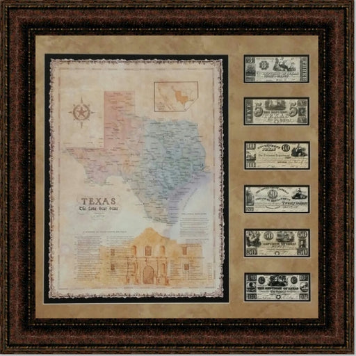 Alamo Map with Texas Currency