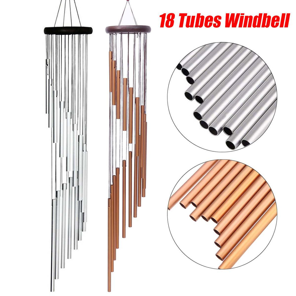 Large 18 Tubes Wind Chimes Metal Wind Bells Handmade Ornament Garden Patio Outdoor Hanging Decor