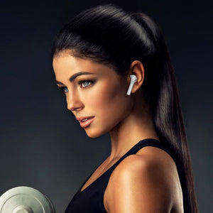 Girl work out with MVYNO MPods wireless Bluetooth earphones