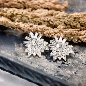 "alt=""e.b. jewelry studio women's starburst bridal earrings silver clear clustered swarovski crystal statement wedding earrings"""