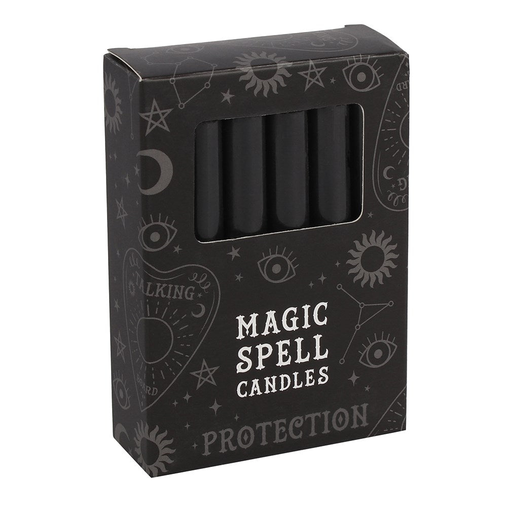BLACK 'PROTECTION' SPELL CANDLES / / PACK OF 12