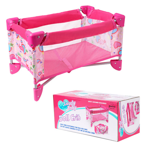 Yesteria Doll Crib Pack N Play Doll Bed - Suitable for 22'' Reborn Baby Dolls & 18'' American Girl Doll - Cute Heart Pattern