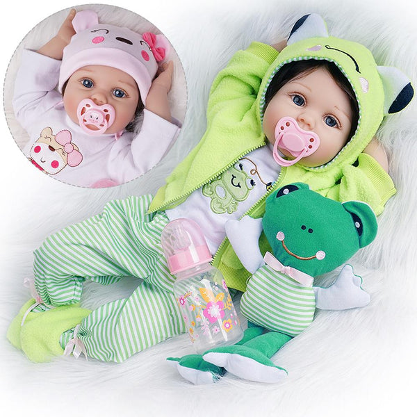 Reborn Baby Doll Girl Look Real 2 Outfits Green and Light Pink 22 inches
