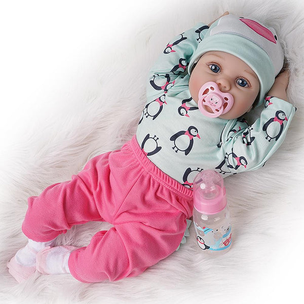 Reborn Baby Doll Girl Silicone Vinyl Light Green and Rose Red Outfit 22 inches
